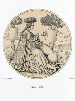 Jungfrauentracht des Mittelalters. Frau mit Einhorn. Gotisches Kostüm. Italienische Mode der Gotik