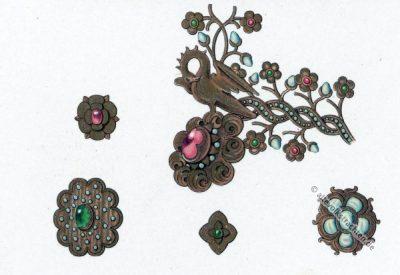 Mittelalter Schmuck Design im 15. Jahrhundert. Gotischer Stil