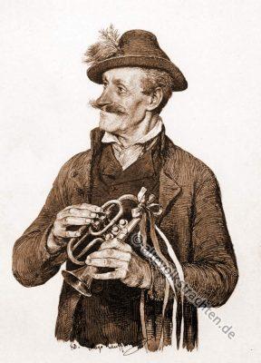 C-Trompete. Hochzeitsmusikant. Traditionelle Bauernhochzeit. Oberbayerische Trachten. Hugo Kaufmann.