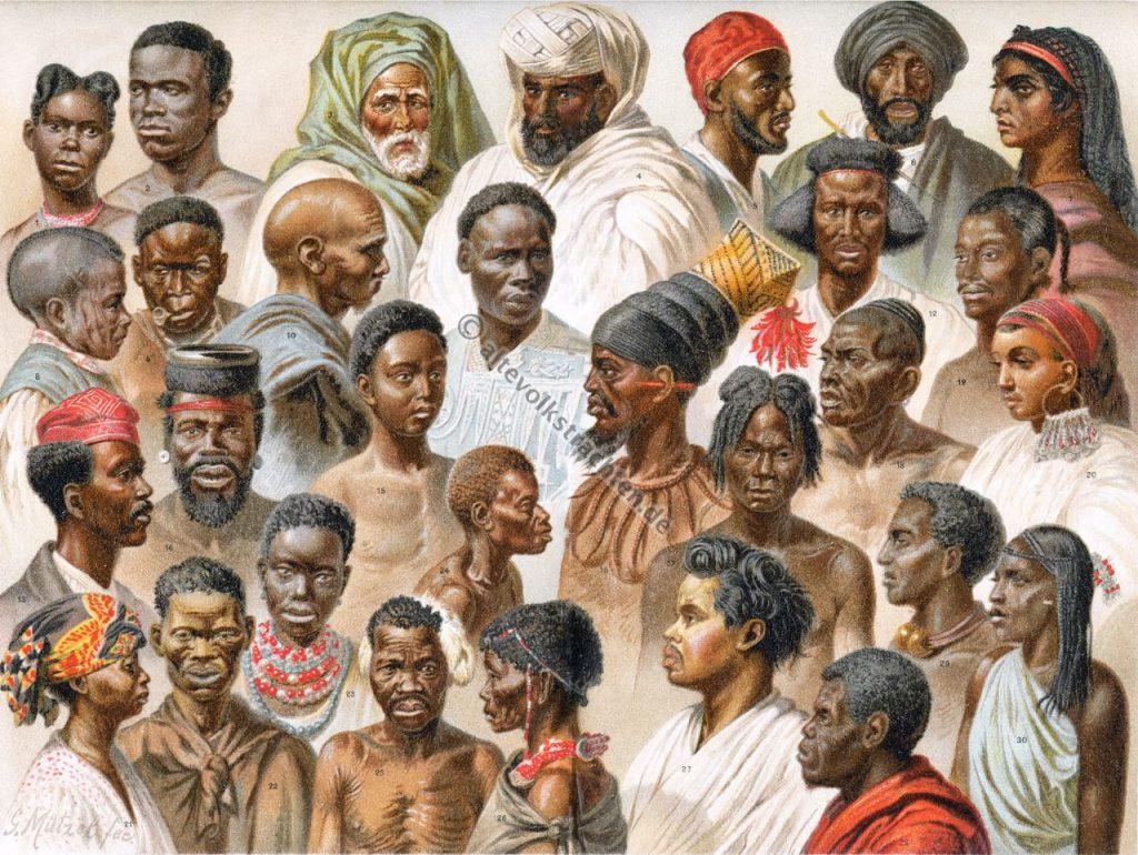 Afrika. Afrikanische Völker. Haarmode. Hüte. Südafrika. Nubier. Buschmänner