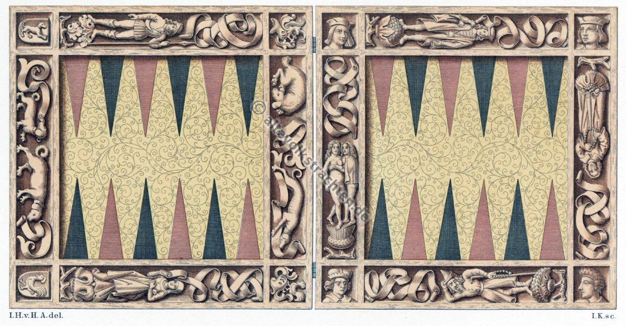 Mittelalter, Spiel, Tric Trac, Backgammon, Mittelalterliches Brettspiel, 15. Jahrhundert.