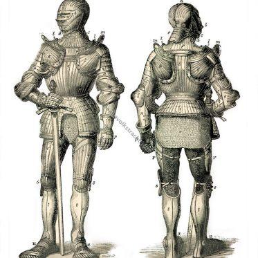 Harnisch, Rüstung. Mittelalter. 15. Jahrhundert. Militär. Ritter.