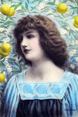 Jugendstil Illustration. Ornamentik. Ornament. Mode. Blaues Kleid.