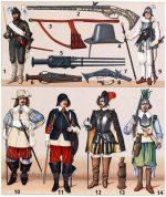 Militärische Trachten zur Zeit des Barock.