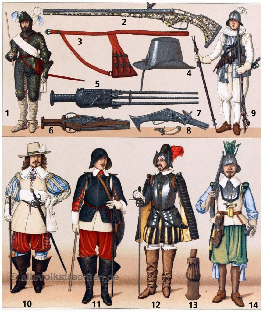 Militärische Trachten. Frankreich. Musketier. Arkebusier. Arkebuse.