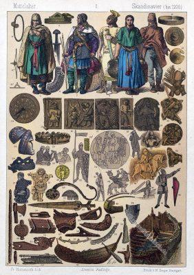 Mittelalter, Skandinavien, Wikinger, Krieger, Ritter, Schmied, Schwert, Eberhelm, Kostümgeschichte, Modegeschichte, Gewandung, Drachenboot, Schmuck