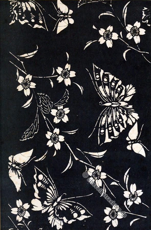 Historische Japan Stoffe, Schmetterlinge, Kirschblütenzweige