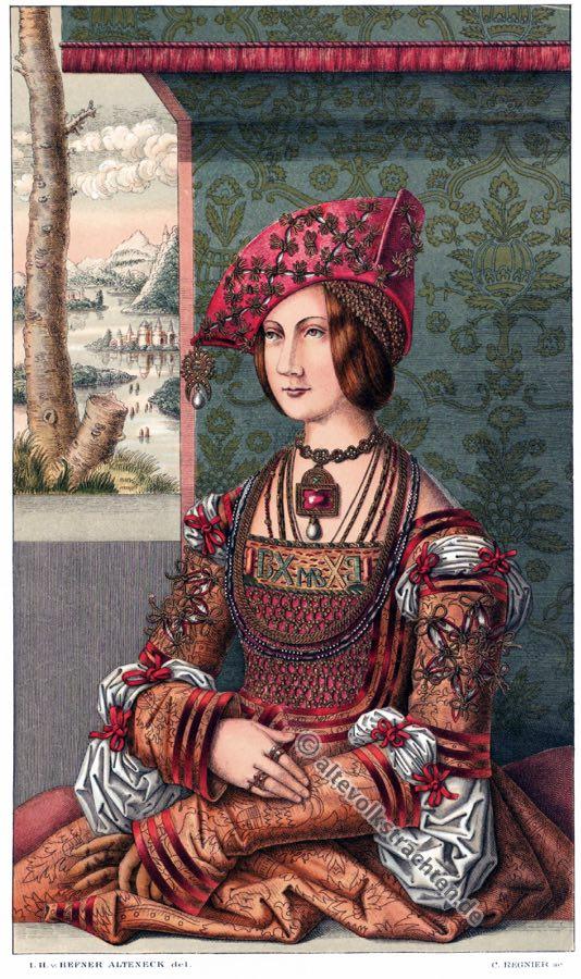 Bianca Maria Sforza, Deutsche Kaiserin, Renaissance. Kostüm, Modegeschichte, 15. Jahrhundert, Heiliges Römisches Reich