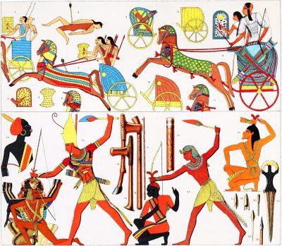 Antike, Altertum, Streitwagen, Kostüm, Pharao, Kostümgeschichte, Modegeschichte, Ägypten, Nubien, Auguste Racinet