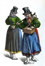 Trachten aus Holstein, 1840.Butterhändlerinnen.