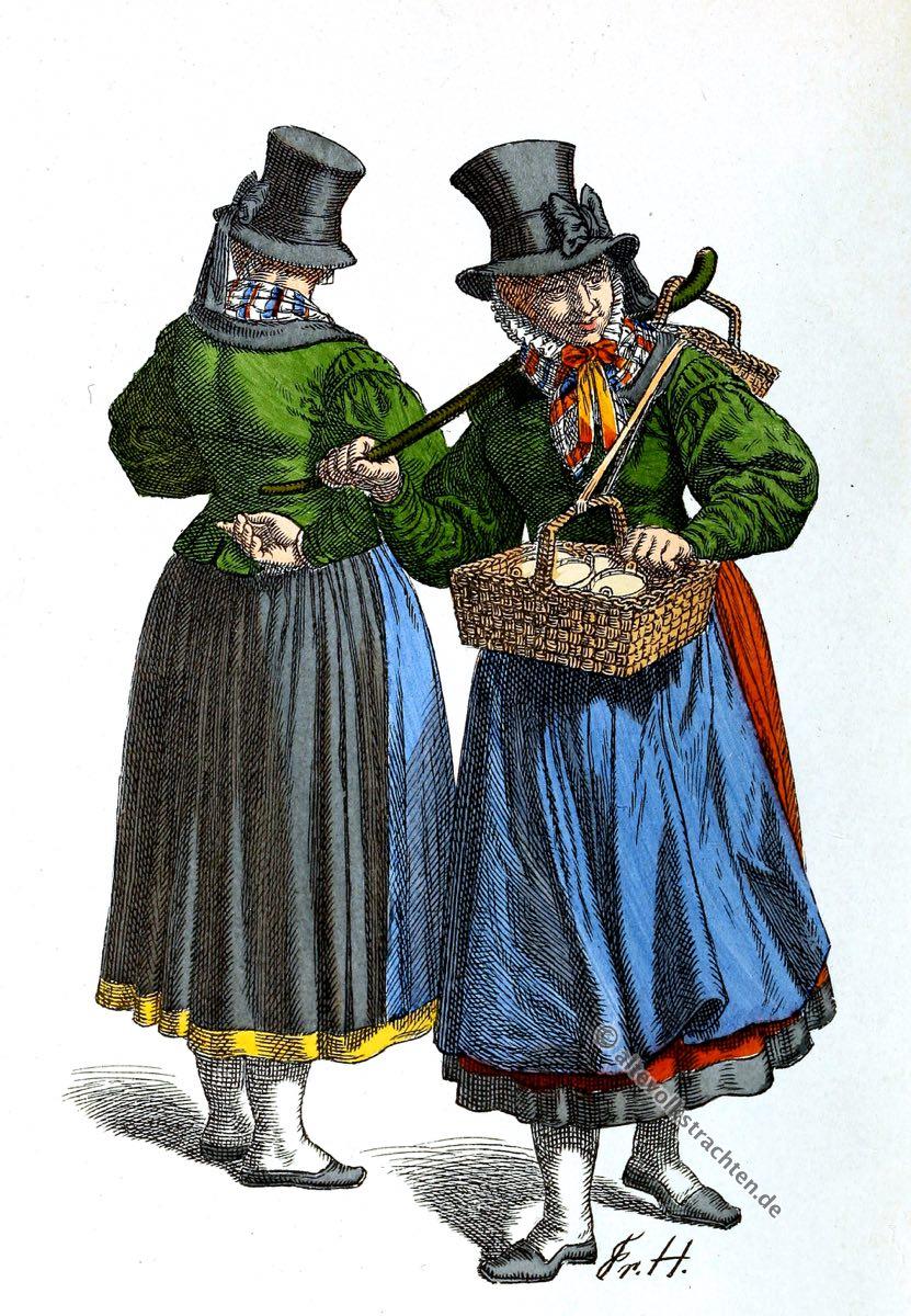 Holstein, Tracht, 19. Jahrhundert, Butterhändlerin, Dirndl, Zylinder, Friedrich Hottenroth, Kostümgeschichte