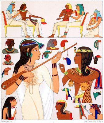 Kopfbedeckungen, Ägypten, Antike, Kostümgeschichte, Modegeschichte, Auguste Racinet