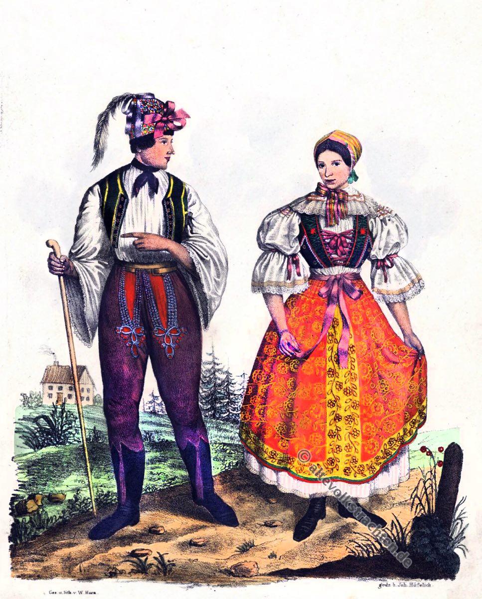 Mährische Volkstrachten, Traditionelle Brünner Tracht, Brünn, Dürnholz, Drnholec, Mähren Trachten, Modegeschichte, Kostümgeschichte, historische Kostüme, Tschechien, Sudetenland