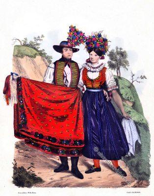 Mährische Volkstrachten, Traditionelle Brünner Tracht, Brna, Klobouky, Brünn, Klobouk, Mähren Trachten, Modegeschichte, Kostümgeschichte, historische Kostüme, Tschechien, Sudetenland