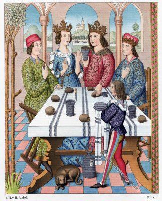 Deutscher König, Minne, Mi-parti, Königin, Renaissance, Kleider, Mode, Kostümgeschichte, Modegschichte, Hefner-Alteneck, Wandteppich, 16. Jahrhundert
