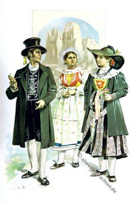 Gröden, Fassatal, Südtiroler Trachten, Dolomiten, Tirol, Österreich, Volkstrachten, historische Kleidung, Modegeschichte, Kostümgeschichte, Arthur Achleitner