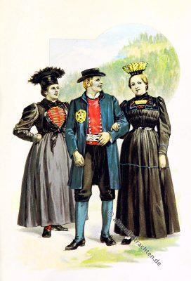 Tiroler Trachten, Tirol, Montafon, Bregenz, Bregenzer Wald, Vorarlberg, Volkstrachten, historische Kleidung, Modegeschichte, Kostümgeschichte, Arthur Achleitner