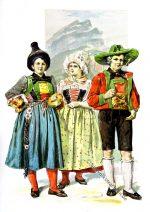 Südtiroler Trachten aus dem Pustertal und Guntschna um 1894