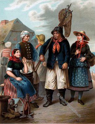 Schleswig Holstein, Fischer, Seemann, Tracht, Trachten, Volkstrachten, Albert Kretschmer, Kostümkunde, Modegeschichte, historische Kleidung