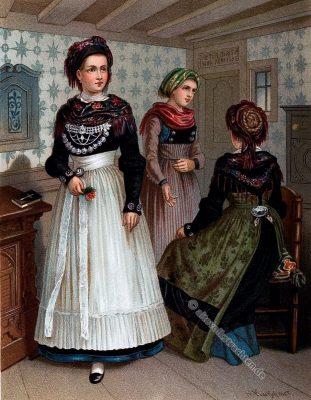 Schleswig Holstein, Föhr, Insel, Nordsee, Tracht, Trachten, Volkstrachten, Albert Kretschmer, Kostümkunde, Modegeschichte, historische Kleidung