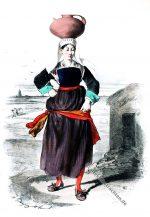 Historische Tracht einer Frau von Guérande, Bretagne.
