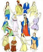 Gallische Büsten. Kostüme der Gallier und Merowinger.