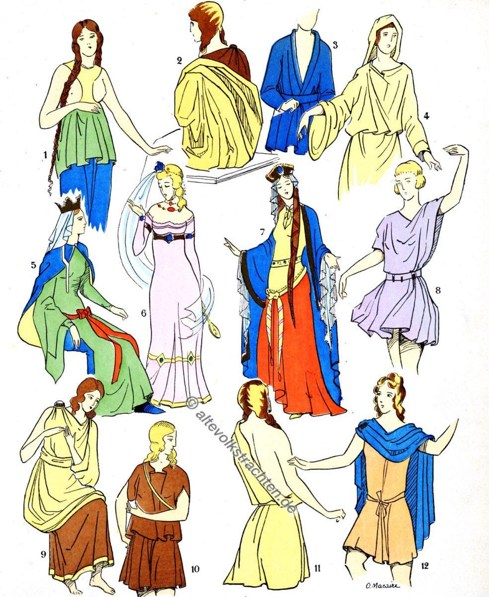 Büsten, Kostüme, Gallier, Gallien, Merowinger, Kostümgeschichte, Modegeschichte