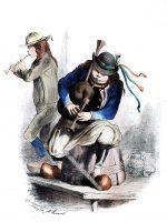 Musikanten des Binioù. Département Finistère. Bretagne 1865.