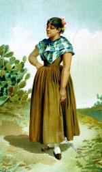 Dorfbewohnerin von Moguer, Spanien um 1891.