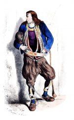 Historische Tracht von Bannalec. Bretagne 1865.