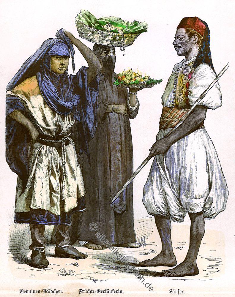 Beduine, Beduinenmädchen, Früchteverkäuferin, Läufer, Ägypten, Trachten, Kostüme, Münchener Bilderbogen, Kostümgeschichte,