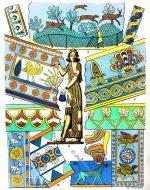 Textilien, Stoffe, Stoffmuster des antiken Assyrien.