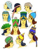 Assyrien, Mesopotamien. Frisuren und Hüte.