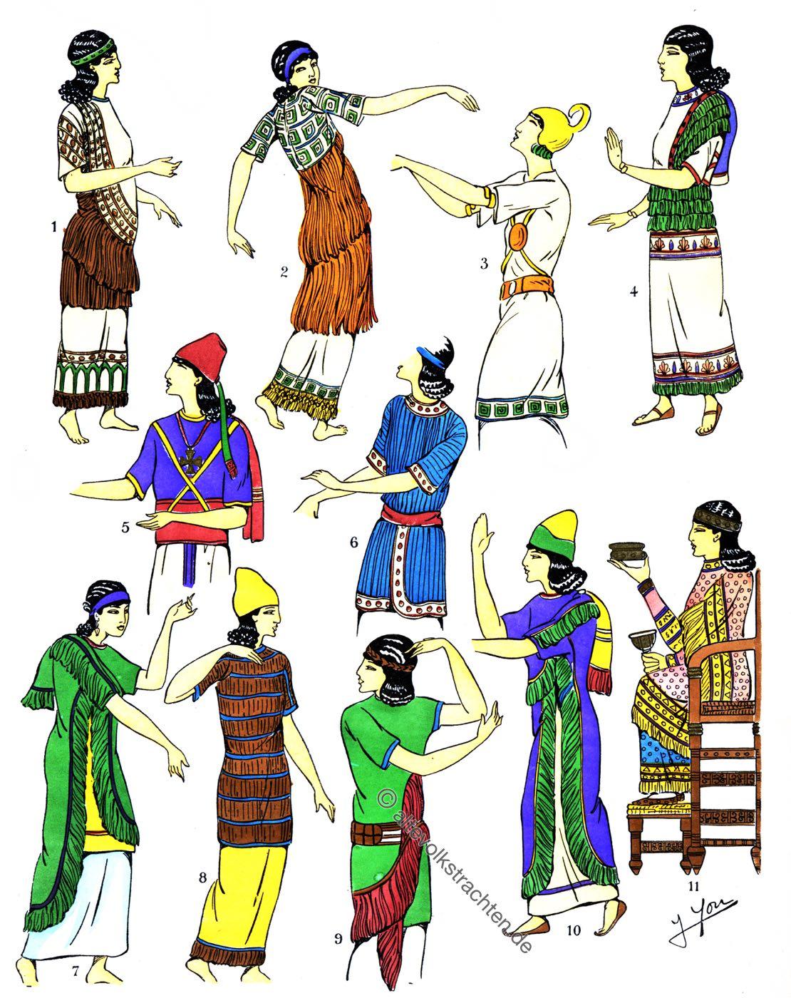 Assyrien, Mesopotamien, Blusen, Garnituren, Kleidung, Trachten, Antike,