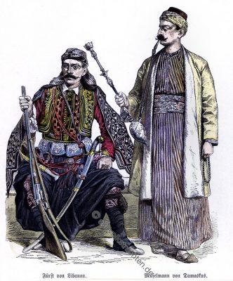 Fürst, Libanon, Muslim, Damaskus, Trachten, Kostüme, Münchener Bilderbogen, Kostümgeschichte,
