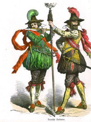 Deutsche Soldaten, Landsknechte, Deutschland, Spielmann, Hauptmann, Renaissance, 16. Jahrhundert