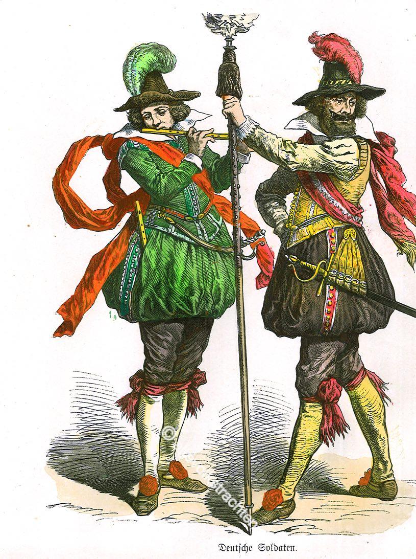 Soldaten, Landsknechte, Deutschland, Spielmann, Hauptmann, Renaissance, 16. Jahrhundert