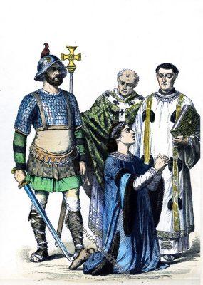 Karolinger, Ritter, Rüstung, Bischof, Edelmann, Kostümgeschichte, Münchener Bilderbogen, Mittellater.