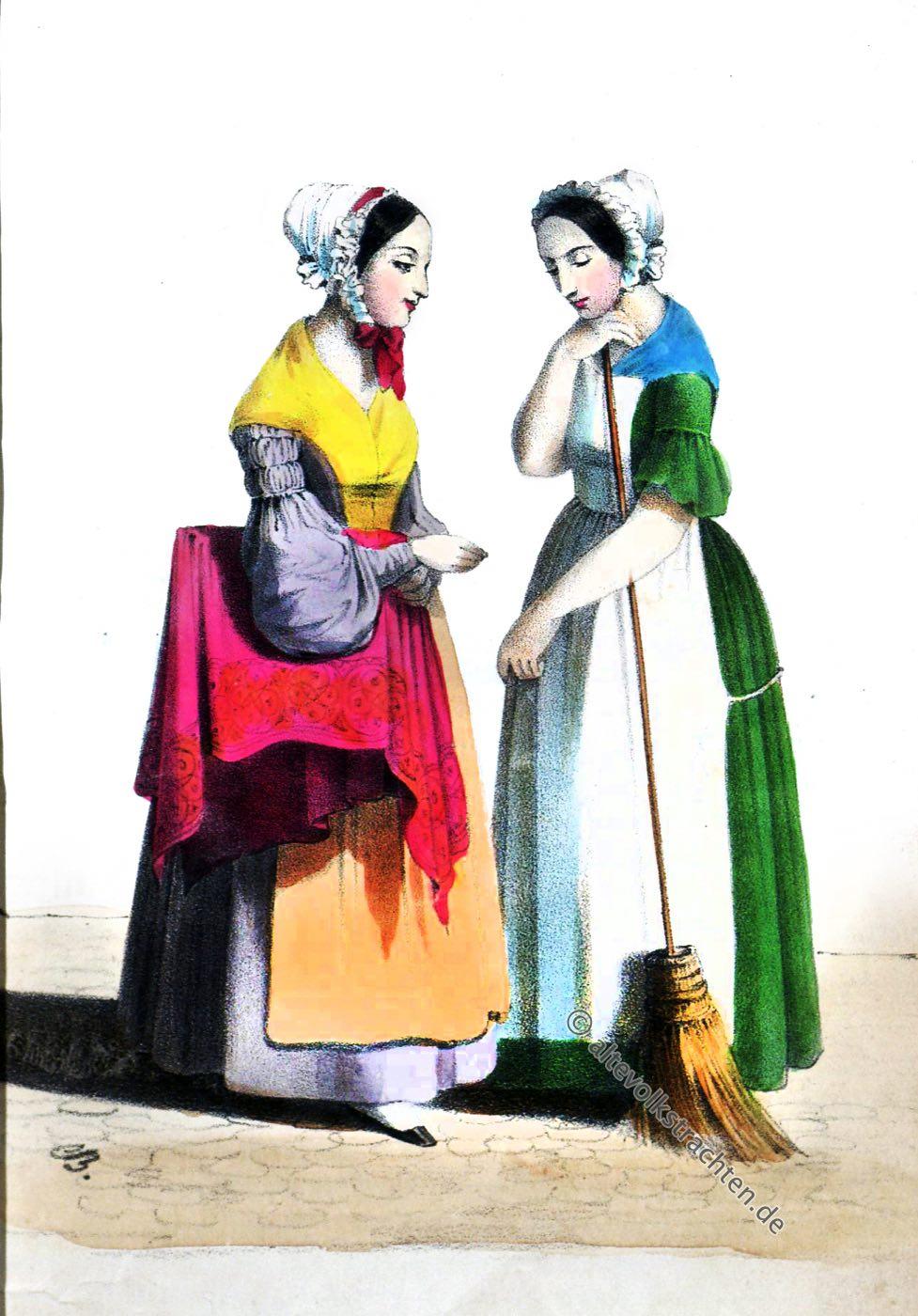 Dienstmädchen, Köchin, Kleinmädchen, Hamburg, Kostüme, Modegeschichte, Friedrich Georg Buek