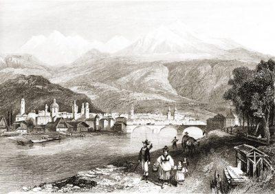 Innsbruck, Markt, Rouargue Frères, Stahlstich, Ansicht, Antique, Austria, Tyrol