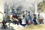 Szene in einem Münchner Wirtshaus um 1859.