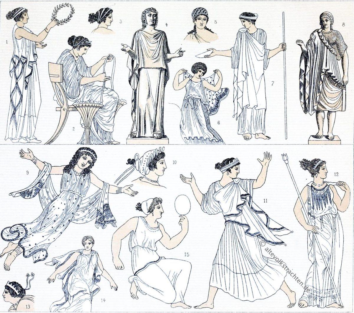 Chiton, Strophion, Antike, Frauentrachten, Griechenland, Auguste Racinet, Kostümgeschichte, Modegeschichte