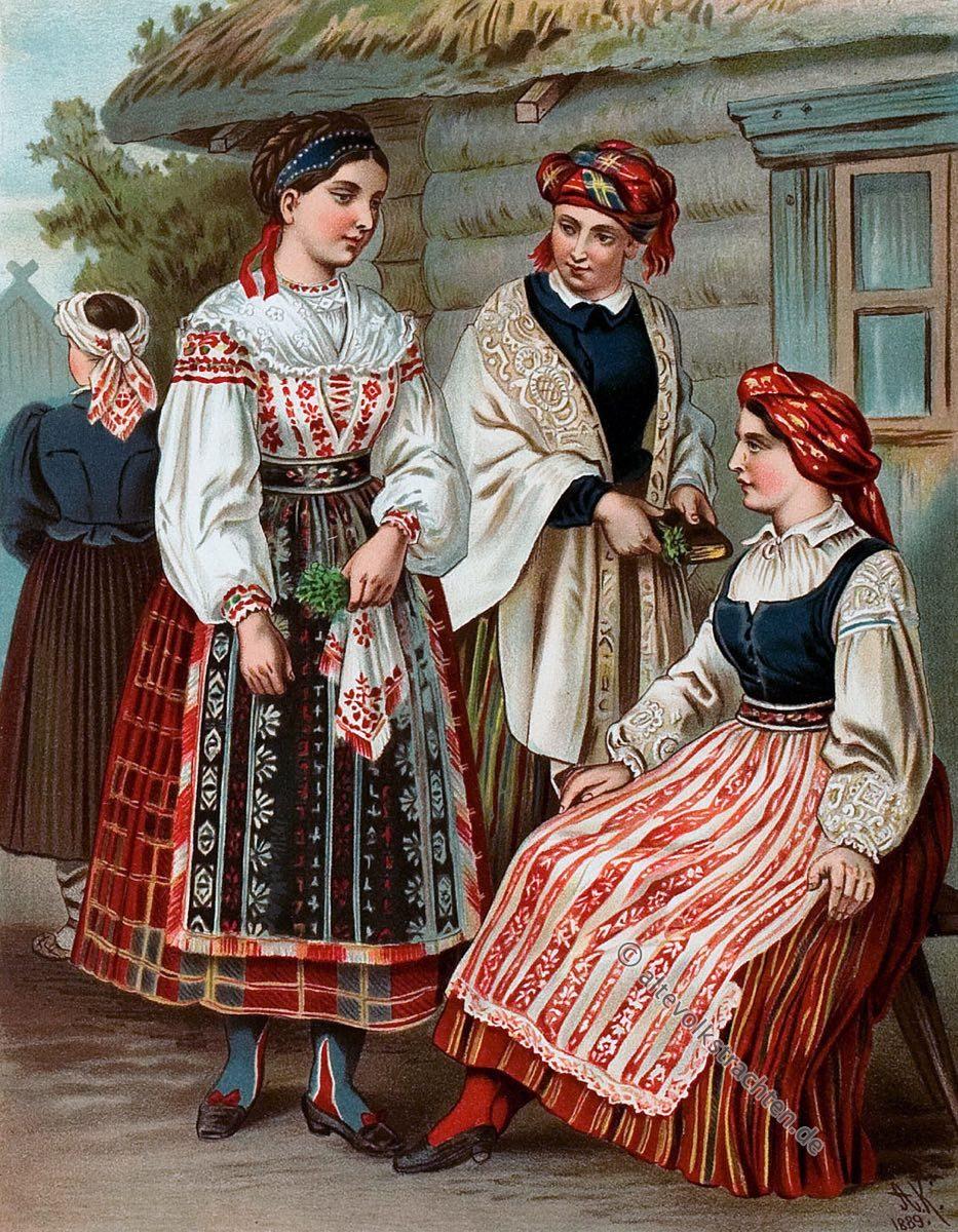 Litauische Frauentrachten aus dem Baltikum