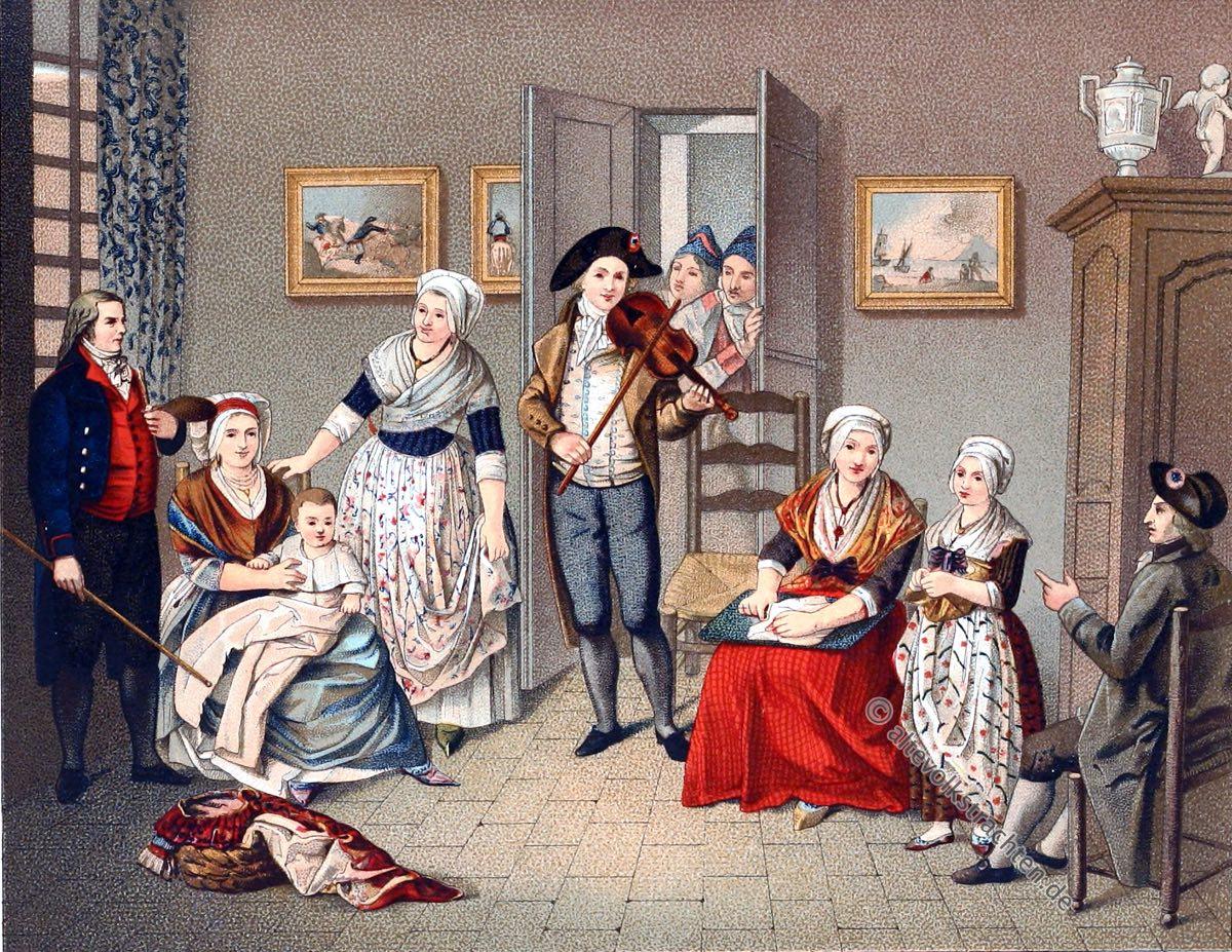 Mode, Frankreich, 18. Jahrhundert, Kostümgeschichte, Modegeschichte, Zimmereinrichtung, Interieur, Auguste Racinet