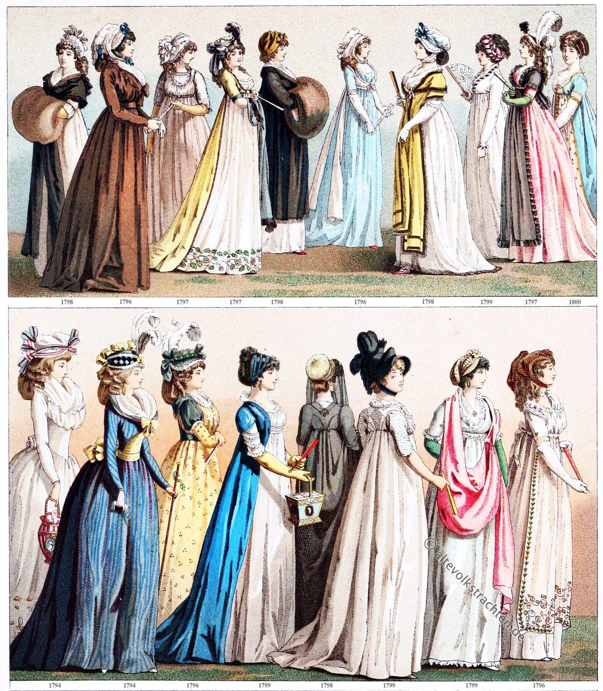 Mode, Kostüme, Frankreich, Direktorium, Empire, Modegeschichte, Auguste Racinet, 18. Jahrhundert, Klassizismus