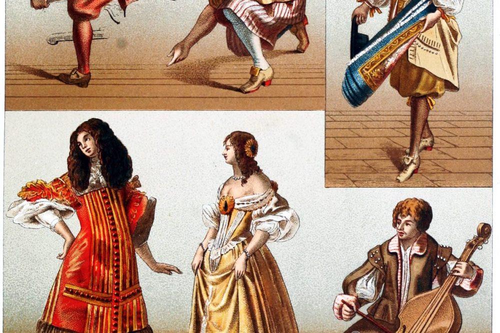 Mode, Kostüne, Barock, Bürger, Handwerker, Adel, Frankreich, 17. Jahrhundert, Auguste Racinet,