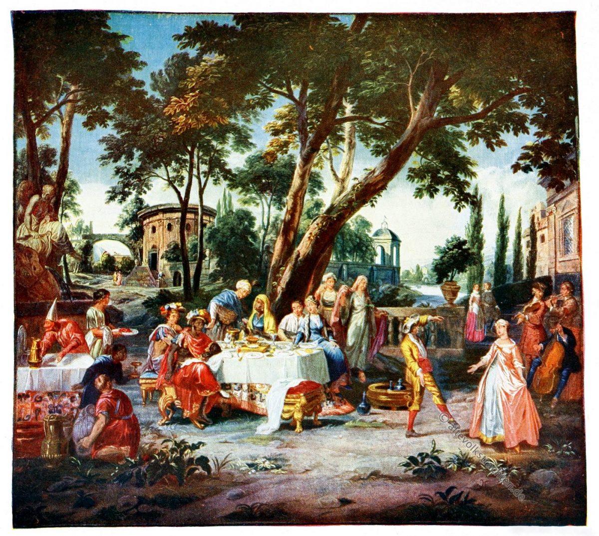 Gobelin, Rokoko, Barock, Gastmahl, Mohrenfürsten, Kunsthistorie, Gobelinsammlung, Gobelins, 18. Jahrhundert,
