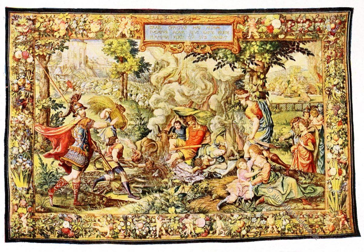 Israeliten, Gobelin, Brüssel, 16. Jahrhundert, Renaissance, Gobelins, Kunsthistorie, Gobelinsammlung, Textilgemälde, Bildteppiche, Bildwirkerkunst, Biblische Motive, Christen, Juden,