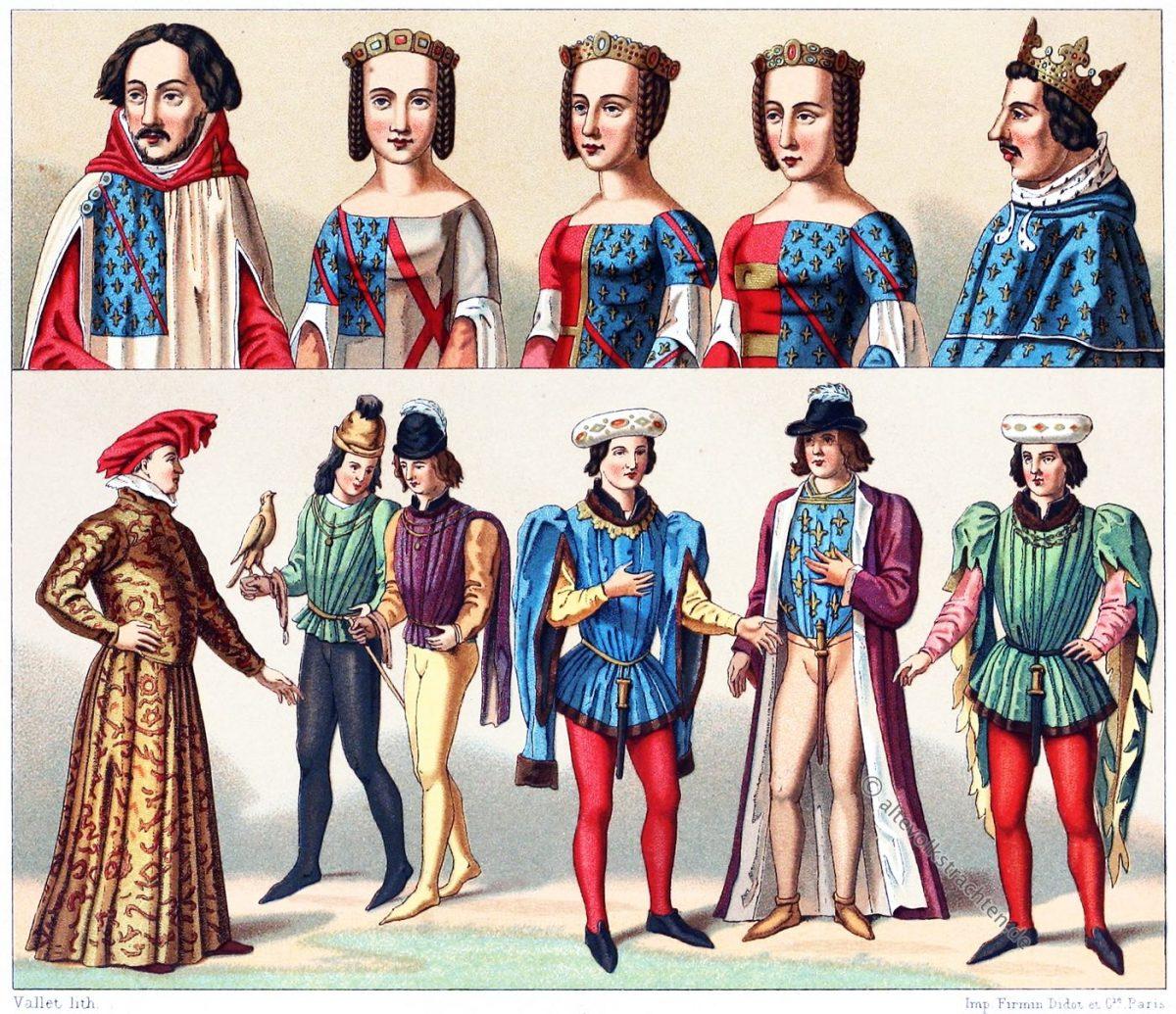Houpelande, Tappert, Heuke, Mittelalter, Mode, Adel, Kostümgeschichte, Auguste Racinet,