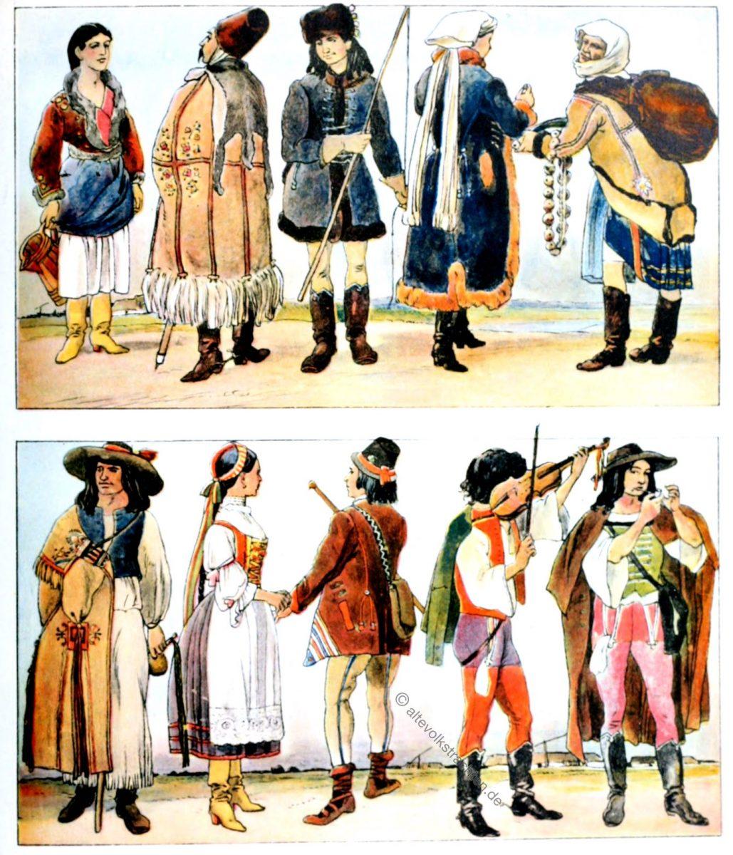 Volkstrachten, Slowakei, Ungarn, Trachten, Kostüme, Adolf Rosenberg, Eduard Heyck, Zigeuner